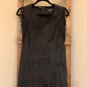 Express Black Suede Fringe Dress